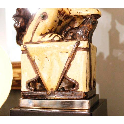 Chinese Yellow Glazed Ceramic Foo Dog Lamp - Image 5 of 9
