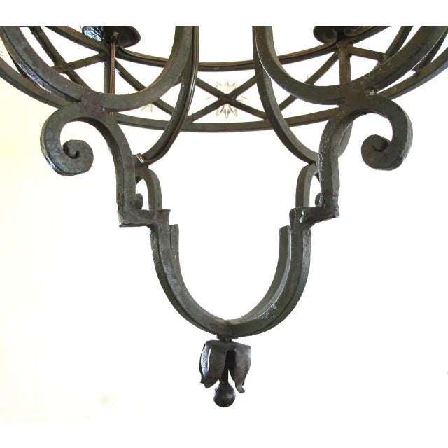 Well-Crafted Spanish Dark Green Painted Hand-Wrought iron Four-Light Chandelier - Image 3 of 5