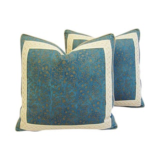 Custom Designer Italian Fortuny Granada Feather/Down Pillows - Pair