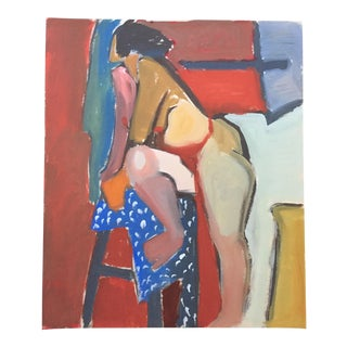 1940-50s Vintage Bay Area Figurative Female Nude Painting by Jerry Opper