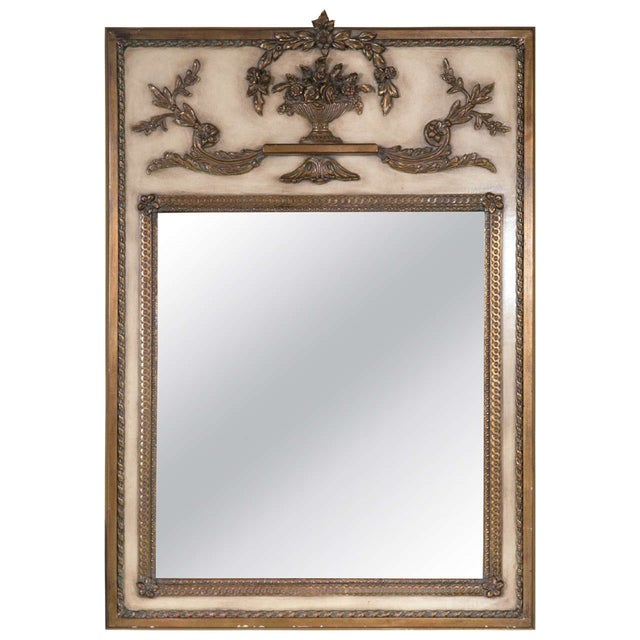 french cream paint decorated trumeau mirror - Decorated Mirror