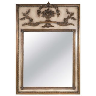 French Cream Paint Decorated Trumeau Mirror