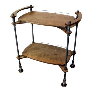 Wood & Iron Pipe Two-Tiered Bar Cart