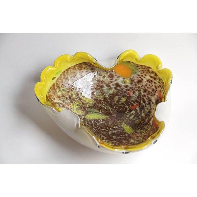 Image of Murano Italian Yellow Glass Bowl Seguso Era