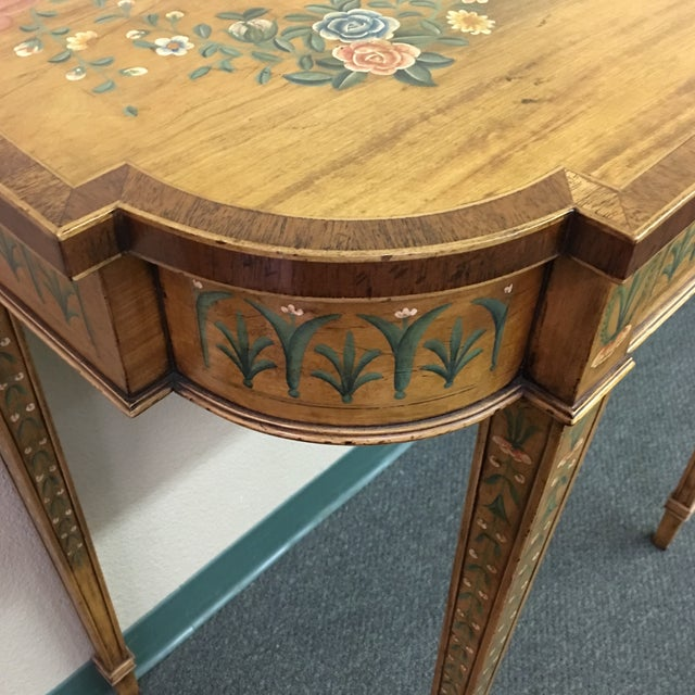 Hand-Painted Floral Console Table - Image 5 of 11