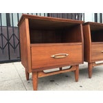 Image of Vintage Mid-Century Walnut Nightstands - A Pair