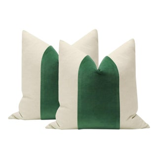 "22"" Malachite Green Velvet Panel and Linen Pillows - a Pair"