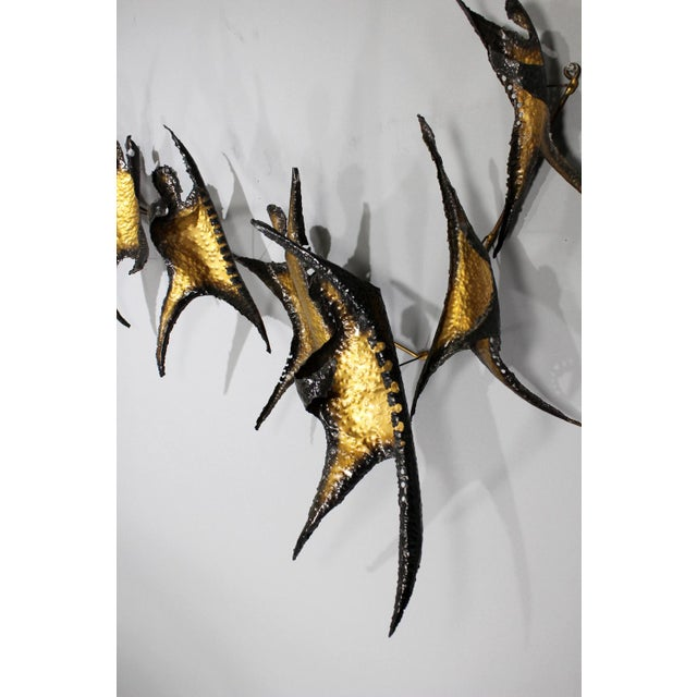 Brutalist Figural Brass Wall Sculpture - Image 8 of 8