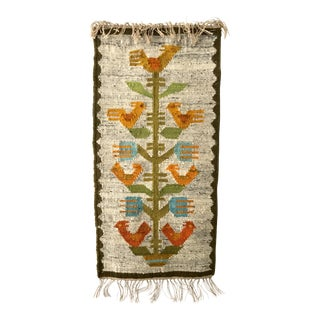 Vintage Handwoven Polish Kilim Wall Tapestry