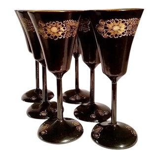 Japanese Black & Gold Lacquerware Wine Glasses