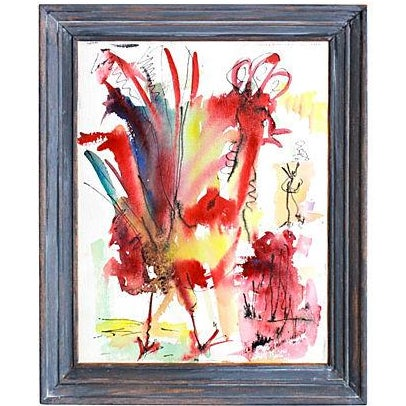 Image of Vintage 'The Rooster' Original Watercolor Painting