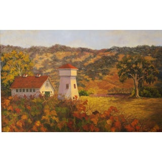 """Vineyard in Autumn"" Oil Painting by Margery Ammon"