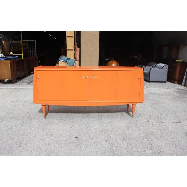 Art deco modern orange lacquered sideboard chairish - Deco room oranje ...