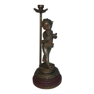 Victorian Spelter Statue With Candle Holder