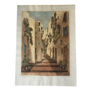 L. Mariae Vintage Hand Colored Etching
