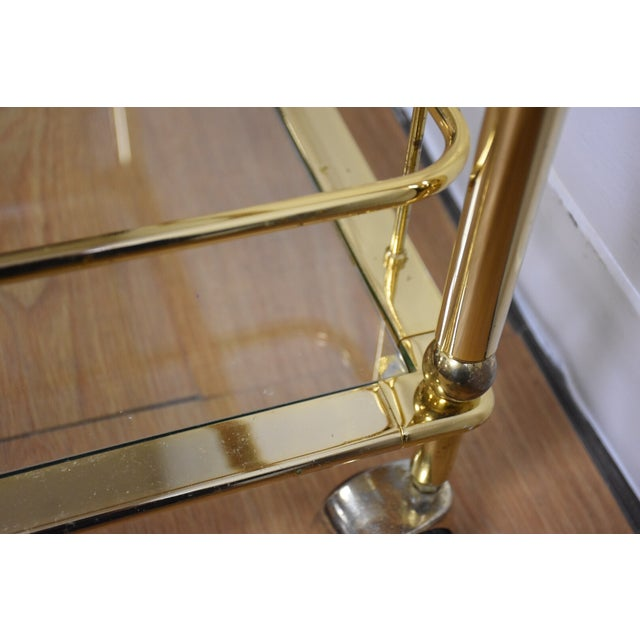 Hollywood Regency Brass Bar Cart - Image 10 of 11