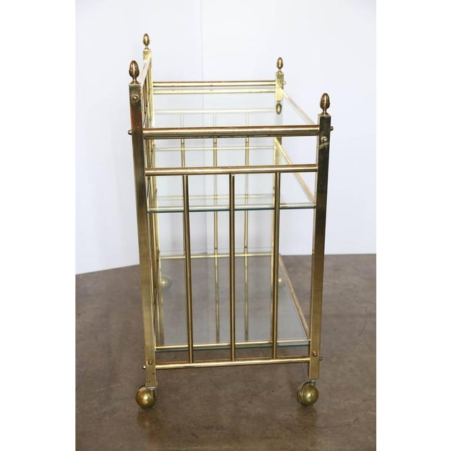 Three-Tier Brass and Glass Bar Cart, Tea Trolley &/or Service Cart - Image 3 of 6
