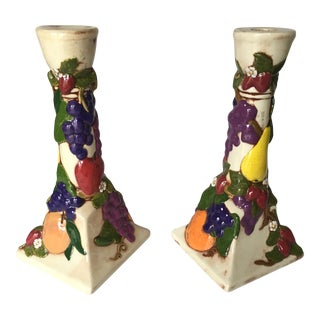 Majolica Glazed Pottery Candle Holders - A Pair