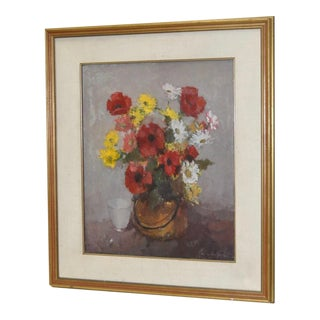 Vintage 1950s Floral Still Life Painting