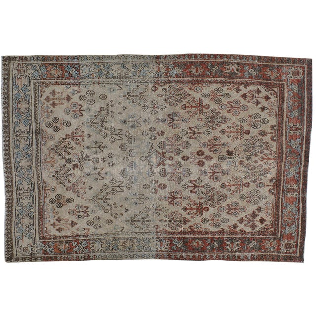 "Antique Persian Distressed Rug - 4'2"" X 6'3"" - Image 1 of 4"