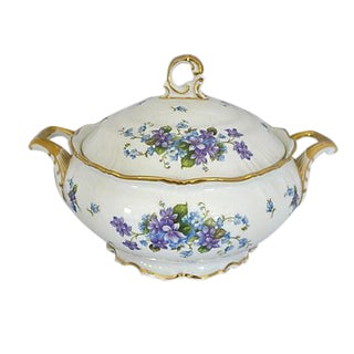 Violets Covered Serving Bowl With Lid