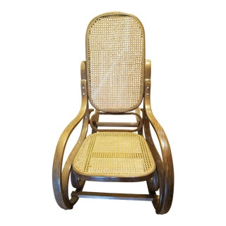 Vintage Thonet Style Bentwood Cane Rocking Chair
