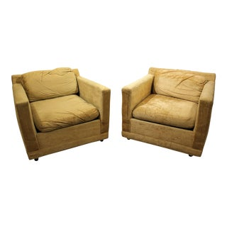 Pair of Mid-Century Modern Danish Modern Selig of Monroe Lounge Cube/Club Chairs