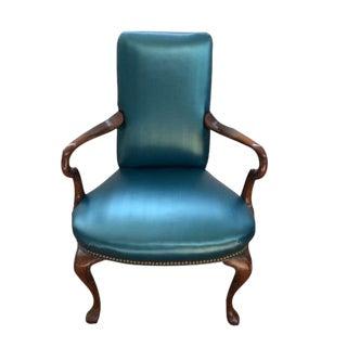 Queen Ann Style Teal Armchair