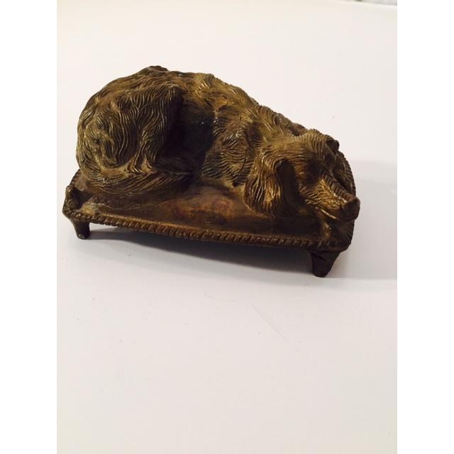 Vintage 1920s Bronze Sleeping Dog Figure - Image 2 of 6