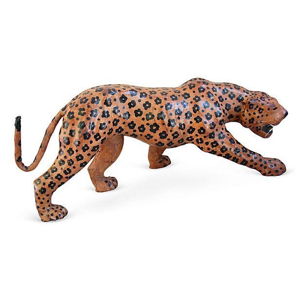 "Vintage Large 31"" Hand-Painted Leather Jaguar - Image 5 of 6"