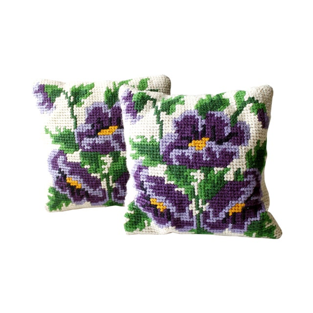 Vintage Pansy Flower Needlepoint Pillows - 2 - Image 1 of 4