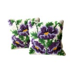 Image of Vintage Pansy Flower Needlepoint Pillows - 2