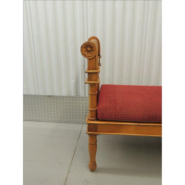 Antique Pine Carved Wood Bench With Velvet Cushion - Image 4 of 5