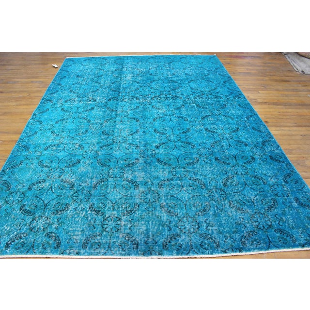 "Vintage Over-Dyed Blue Turkish Rug - 6'4"" X 9'2"" - Image 3 of 8"