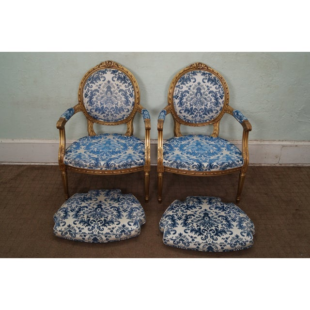 Vintage Gilt French Louis XVI Chairs - A Pair - Image 5 of 10