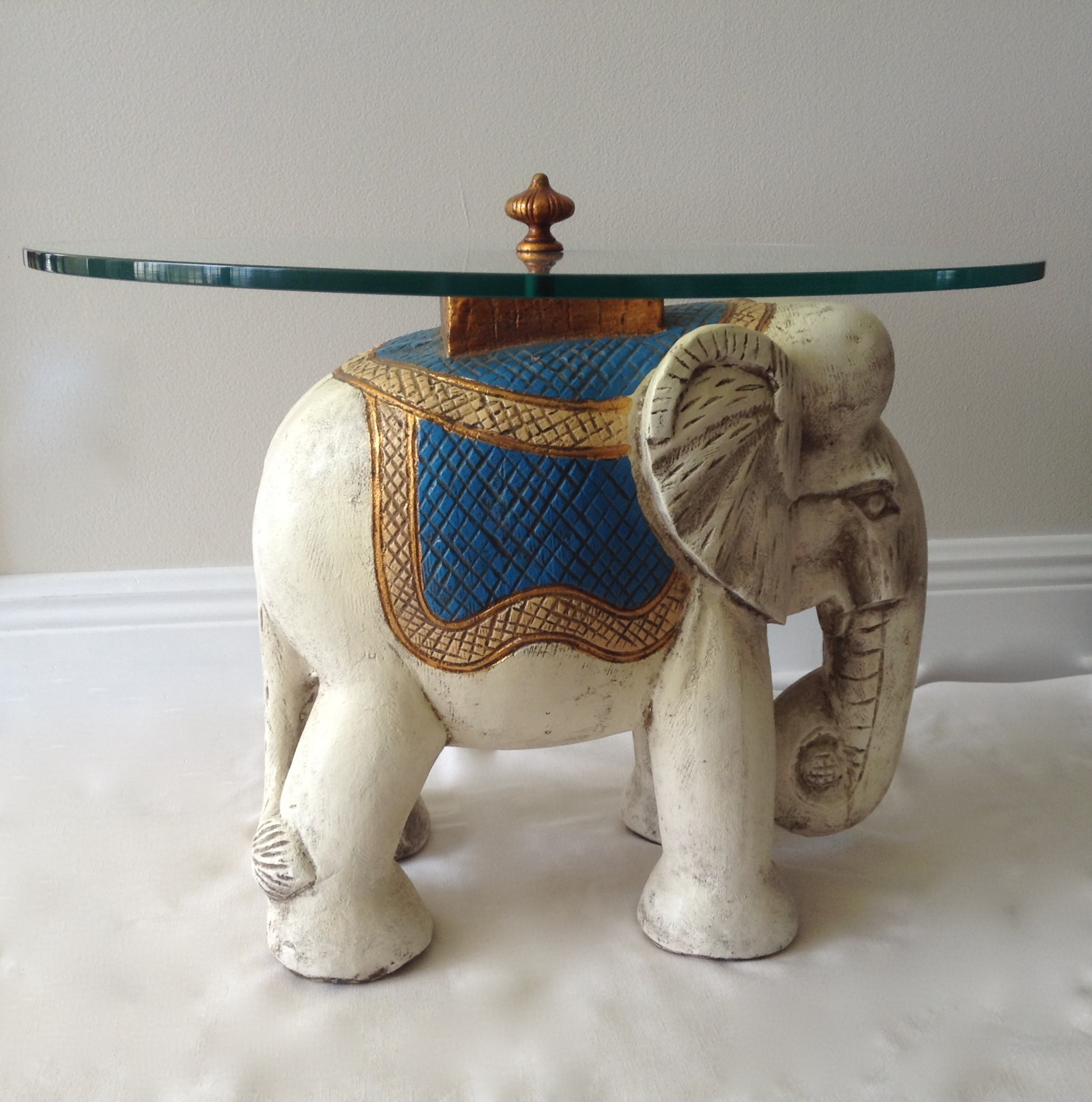 Hollywood Regency 1940s Elephant Glass Top Table   Image 2 Of 11