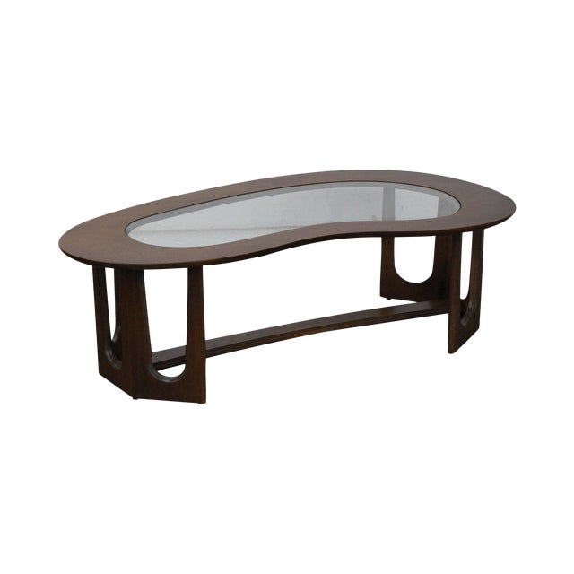 Mid-Century Boomerang Walnut & Glass Top Coffee Table - Image 1 of 10