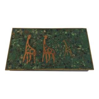 Mid Century Giraffe and Inlaid Stone Box