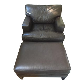 Room & Board Leather Club Chair & Ottoman