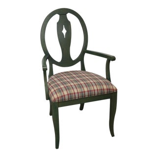 Ethan Allen Country Green Painted Arm Chair
