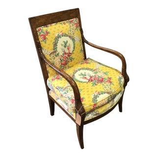 French Hand Carved Bergere Upholstered Arm Chair