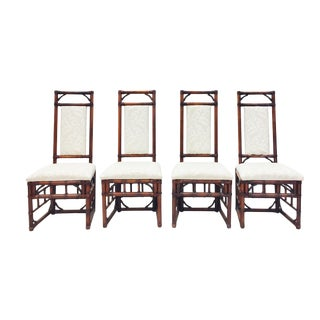 Vintage Bamboo & Rattan Dining Chairs - Set of 4