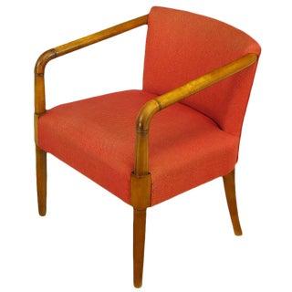 Mahogany & Crimson Upholstered Slope-Arm Desk Chair