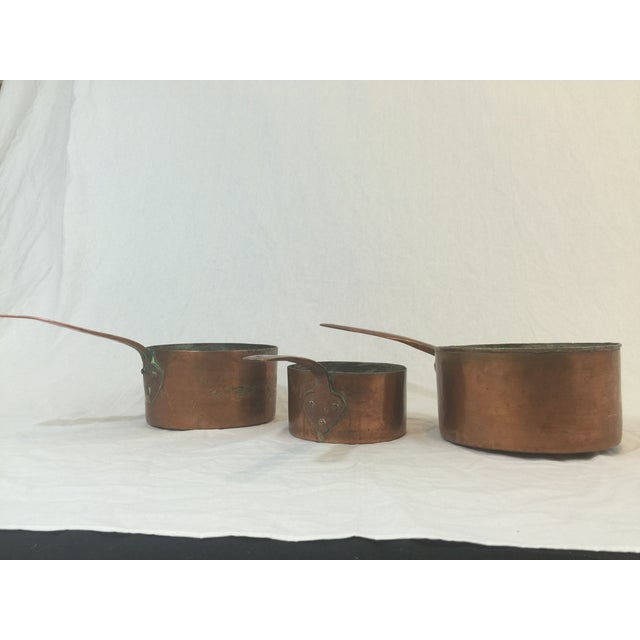 Antique Copper Pots with Dovetailing - Set of 3 - Image 9 of 10