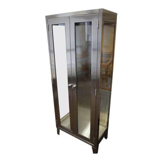 Storage Cabinet of Glass and Stainless Steel from Hospital, Midcentury