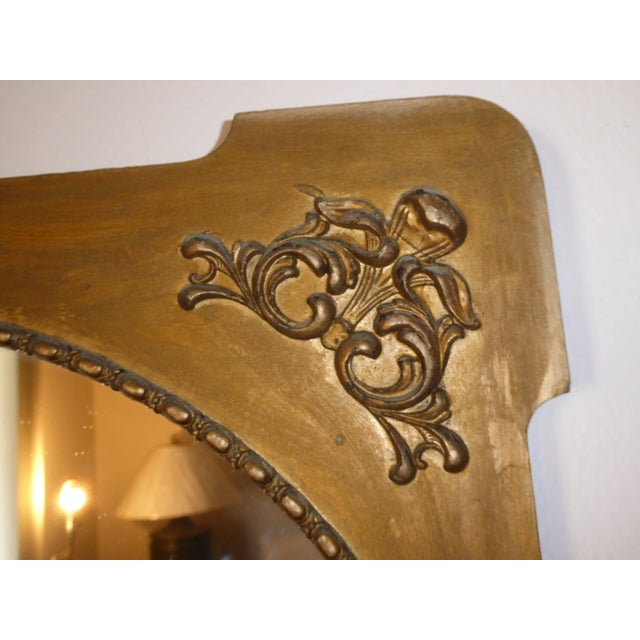 Antique Victorian Style Gold Gilt Floral Carved Wood Wall Mirror - Image 8 of 11