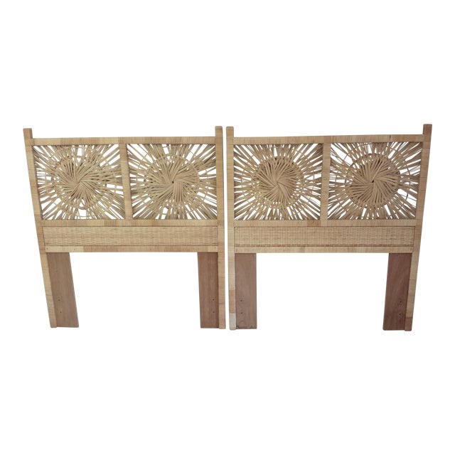 Woven Rattan Twin Headboards - A Pair - Image 1 of 9