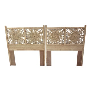 Woven Rattan Twin Headboards - A Pair