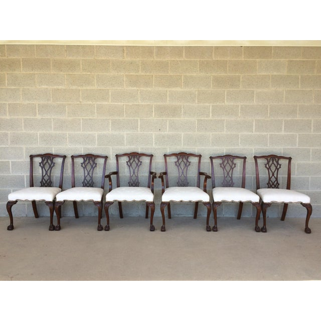 Image of Vintage Baker Chippendale Style Ball & Claw Mahogany Dining Chairs - Set of 6