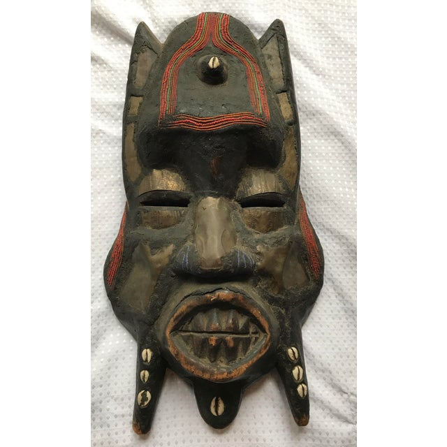 Metal Beads & Shells African Wooden Mask - Image 2 of 11